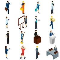 Professionella Människor Arbeta Isometriska ikoner Set