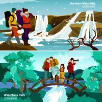 Wasserfall Landschaften Kompositionen vektor