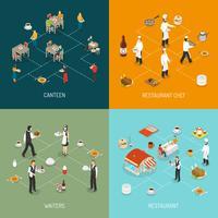 Isometrisches Ikonen-Quadrat des Restaurant-Konzeptes 4