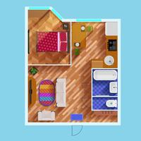 Grundriss einer Wohnung mit einem Schlafzimmer vektor