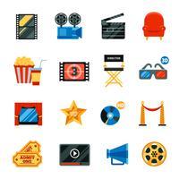 Flat Cinema Dekorativa ikoner Set