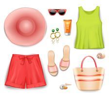 Kvinnor Strandkläder Accessoarer Set vektor