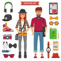 Hipster Par Dekorativa Ikoner Set vektor