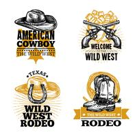 Cowboy Retro Embleme vektor