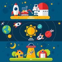 Weltraumforschung 3 Flache Banner gesetzt