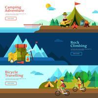 camping flat banner set