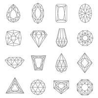 Juwelen Linie Icons Set