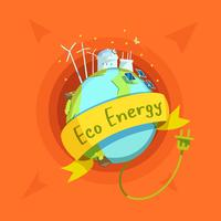 Ekologisk energi tecknad retro