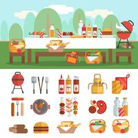 bbq party banner set