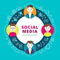 social media grupp människor vektor