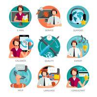 Kundensupport Design Embleme Set vektor