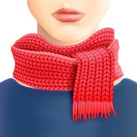 Frau gestrickter roter Schal-Anzeigen-Druck