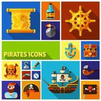 Flache Karikatur-Ikonen der Piraten
