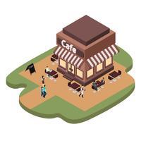 Cafe Building Illustration