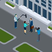 Journalist Reporter Profession Isometric Banner