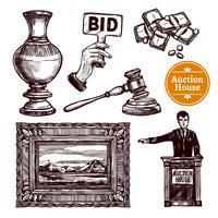 Handdragen Auktionssats
