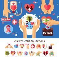Wohltätigkeits-Infographik-Set vektor