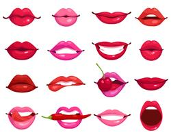 Lippen-Cartoon-Set