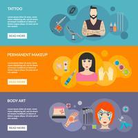 Set Body Art Tattoo Make-up mit Beschreibung vektor