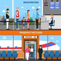Flygplats Banners Set vektor