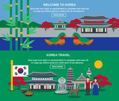 Koreansk kultur resa Horisontell Banners Set