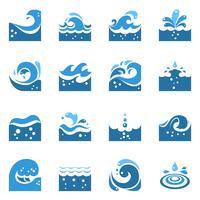 blå våg ikoner uppsättning vektor