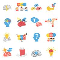 Brainstorming kreative flache Icons Set