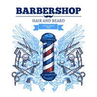 Friseurgeschäft-Anzeigen-flaches Plakat