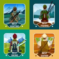 Hunting Hking 4 platta ikoner Square vektor