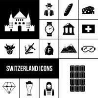 Schweiz svarta ikoner uppsättning