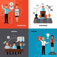 Affärsmän 4 platta ikoner Sammansättning