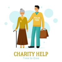 Volontärer Välgörenhet Hjälp Organisation Plattaffisch vektor