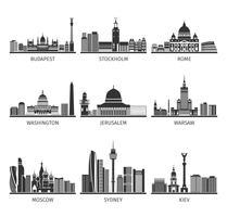 Weltberühmte Stadtbilder schwarz Icons Set