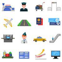 Flygplats ikoner Set