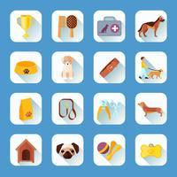 Plana ikoner sätter hundens sned skugga vektor