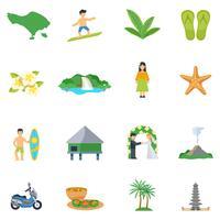 Satz flache Ikonen über Bali