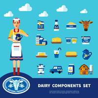 Mjölk Komponenter Set vektor