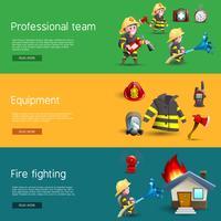 Feuerwehrleute Team Equipment Horizontal Banner Set