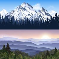 Landskap av berg banners vektor