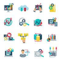 Große Datenanalyse flache Symbole