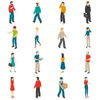 Människor Isometriska Ikoner Set