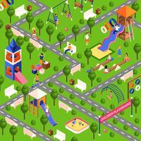 Isometrische Spielplatzillustration