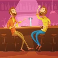 Freunde in der Bar-Illustration
