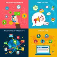 Sozialnetz-Konzept-Ikonen eingestellt