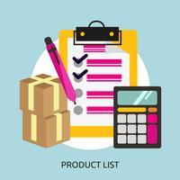 Produktlista Konceptuell illustration Design vektor
