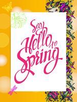 Gelber Frühlingshintergrund mit Kolibris und Schmetterlingen.