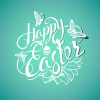 Glad påskskylt, symbol, logotyp på en grön bakgrund med blommorna. vektor