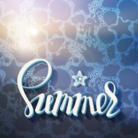 Konstnärlig inskription på bakgrunden av sommar havet skum från havet boende, affisch, kalligrafi symbol, brev, semester.