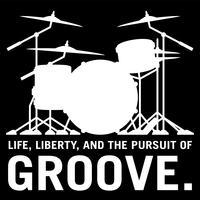 Liv, Liberty, och strävan efter Groove, trummisens trumma sätta silhuett isolerad vektor illustration