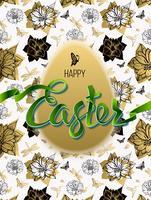 Frohe Ostern. Zeichen, Symbol, Logo auf einem nahtlosen Hintergrund mit den Blumen und dem Ei.